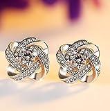 WANGSHI Pendientes De Flores De Cristal De Perforación De Diamantes...