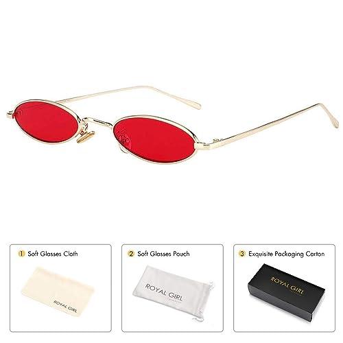 af3a017cc211 ROYAL GIRL Vintage Oval Sunglasses Small Metal Frames Designer Gothic  Glasses