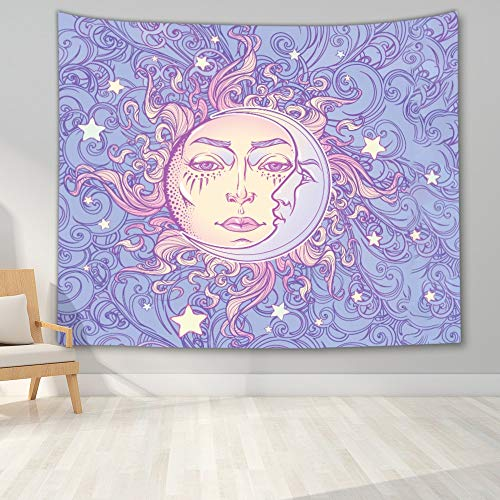 KHKJ Tapiz de Mandala para Colgar en la Pared, decoración Boho, tapices de Tela para Pared, Tapiz Bohemio psicodélico, Alfombra de Pared de Mandala, 95x73cm