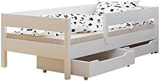 Cama individual para niños con cajones y colchón, 4 colores, muchos tamaños diferentes 140x70 blanco