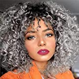 Curly Wigs for Women Classical Gray Color Hair Extensions Afro Curly Wave Hair Wig Black Ombre to Gray Color Curly Hair Style