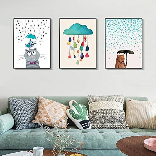 ZFFLYH Decoratieve folie, set met 3 dierenschilderen, woonkamer, decoratie, schilderij in de slaapkamerstijl, om op te hangen, schilderen, kindermuur, schilderij (30 x 40 cm)
