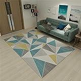 Alfombra recibidor Alfombra de Sala geométrica Moderna Gris Azul Antideslizante y anticaída alfombras Lavables en Lavadora alfombras de Salon 120X180CM 3ft 11.2