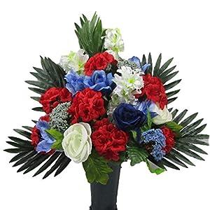 Cemetery Flowers Gravesite Gravestone Memorial Cone Red White Blue