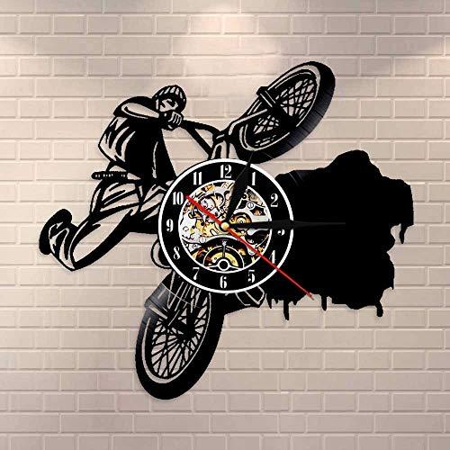 wtnhz LED-Ride Extreme Bike Reloj de Pared BMX Bike Disco de Vinilo Reloj de Pared Dirt Bike Track Racing decoración para el hogar Stunt Bike Rider Regalo