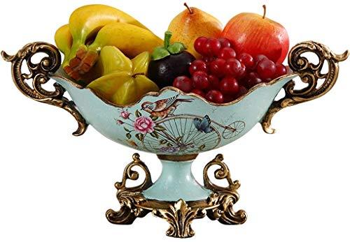 CESULIS Bandeja de cerámica moderna para dulces, azul y blanco, chino, plato de fruta simple creativo, decoración de mesa de café retro (color: azul, tamaño: M) exhibición de frutas