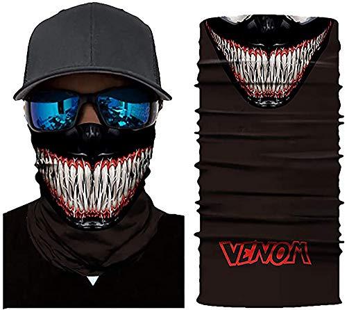 WSZ Pañuelo facial para la cabeza, bandana con diseño de calavera 3D, a prueba de rayos UV, resistente al viento, para exteriores, multifuncional, pasamontañas #DC017 Beast Venom, talla única