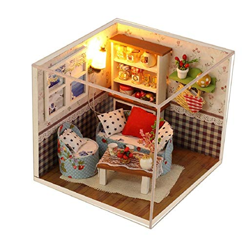 Koojawind DIY Dollhouse Miniature Kit &Toys, 3D Wooden Dolls House Furniture, 1:24 Scale, Dollhouse Miniature Furniture, DIY Wooden Dollhouse Kit