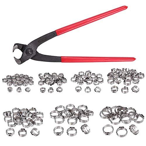 BXU-BG - Abrazaderas de manguera sin escalonamiento de oreja única, 130 unidades, 5,8 – 21 mm, acero inoxidable 304, anillo de abrazadera de abrazadera para manguera de oreja única