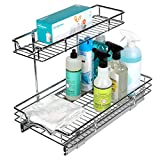 Richards Homewares Pull Out Cabinet Organizer – Perfect for Vanity and Kitchen Under Sink Shelves Two Tier Sliding Shelf-11 W x 21' D x 14-1/2'H, Requires at Least 12' Opening, 21' D