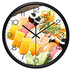 QINGQING Wall Clock Japan Sushi Exquisite Food The New Home Decoration Restaurant Kitchen Clock for Office/Kitchen/Bedroom/School Decorative