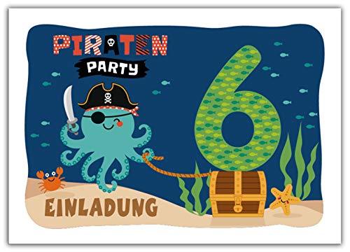 12 Einladungskarten zum 6. Kindergeburtstag Jungen Mädchen Pirat Piraten-Party
