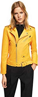The Bombay Leather Co Genuine Lambskin Leather Jacket for Women Yellow Cafe Racer Biker Size XS S M L XL XXL