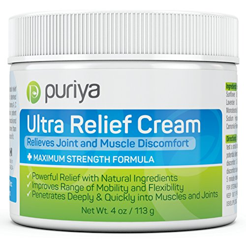 Puriya Ultra Relief Cream with Natural Menthol Long Lasting Balm for Muscle and Joint Comfort in Leg Hand Ankle and Knee FastActing Rub with Pleasant Scent Maximum Strength Fit for Athletes