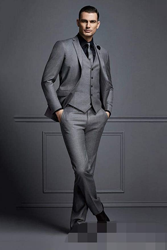 Frank Hombre Trajes de Boda Gris Oscuro para Hombres 3 Piezas Business Prom Groom Tuxedos Jacket + Chaleco + Pantalones