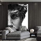 wZUN Escultura de Cabeza en Blanco y Negro nórdico Carteles e Impresiones murales Arte Lienzo Pintura Cuadros Sala de Estar decoración del hogar 60x90 Sin Marco
