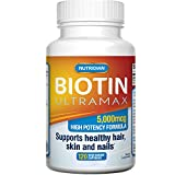 BIOTIN 10000 MCG 60 Veg Capsules - Extra Strength Vitamins For Hair Growth, Strong Nails and Healthy Skin - Pharmaceutical Grade Vitamin B7 For Thinning Hair and Faster Hair Growth (60 Capsules)