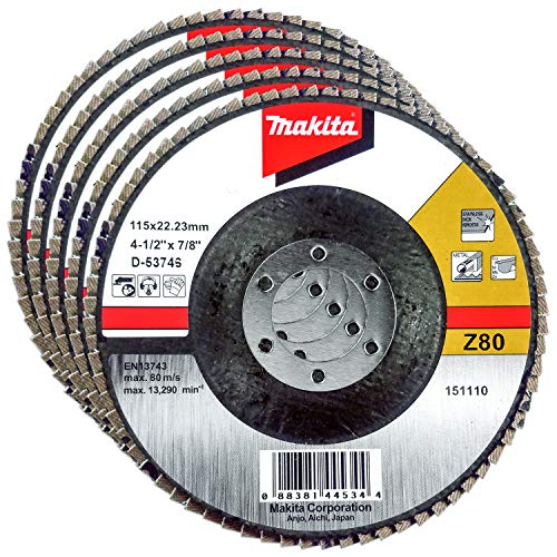Makita 5 Pack - 80 Grit Flap Disc for Grinders - Balanced Conditioning for Metal, Stainless Steel & Non-Ferrous - 4-1/2' x 7/8-Inch | Z80 Angled