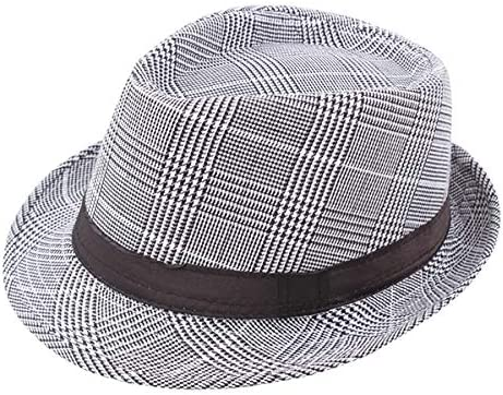 AZHAO Mens British Style Classic Gentleman Panama Fedora Hat Casual Wide Brim Sun Jazz Hat (Color : Color White+Red, Size : One Size)