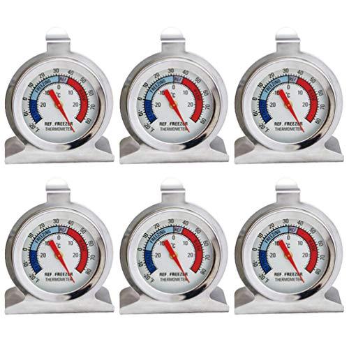 Cabilock Termometro per Frigorifero con Quadrante 6 Pezzi Termometro per Congelatore Termometro per Frigorifero Grande in Acciaio Inossidabile con Confezione in Carta