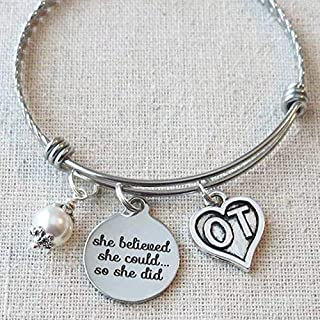 OT Occupational Therapist MONTH APRIL 2019, OT Student Graduation Gift Bracelet, She Believed She Could So She Did OT Gifts, Accomplishment Gift for OT, OT Occupational Therapist Graduate Gift