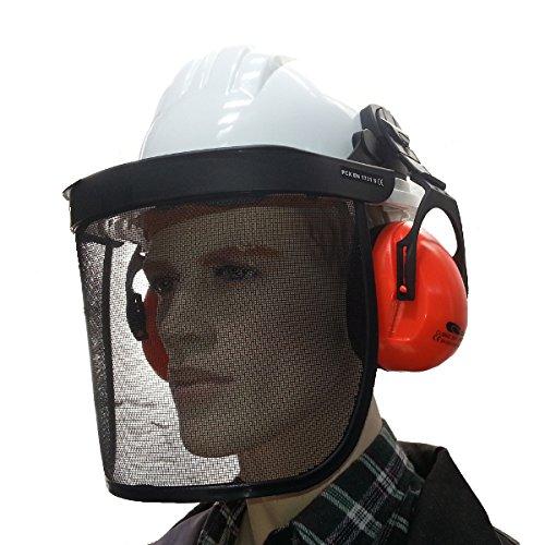 Bouwhelm met gezichtsbescherming en gehoorbescherming hoofdbescherming helm bosbouwhelm net wit