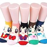Sailor Moon - Calcetines para mujer, 6 pares (6 colores) = 1 paquete fabricado en Corea