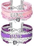 Chuangdi 2 Pieces Dance Bracelet Girls Charm Bracelet Dance Recital Gift Adjustable Bracelet for Dancers (Purple and Pink)