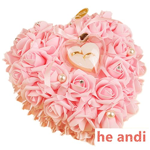 he andi Elegant Rose Wedding Favors Heart Shaped Gift Ring Box Cushion Pillow Decoration(25CM) (Pink)