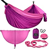 Gold Armour Camping Hammock and Bug Net Set - Double Parachute Hammock (2 Tree Straps 32 Loops/20 ft Included) USA Brand Lightweight Men Women Kids, Camping Accessories Gear (Fuchsia & Pink)