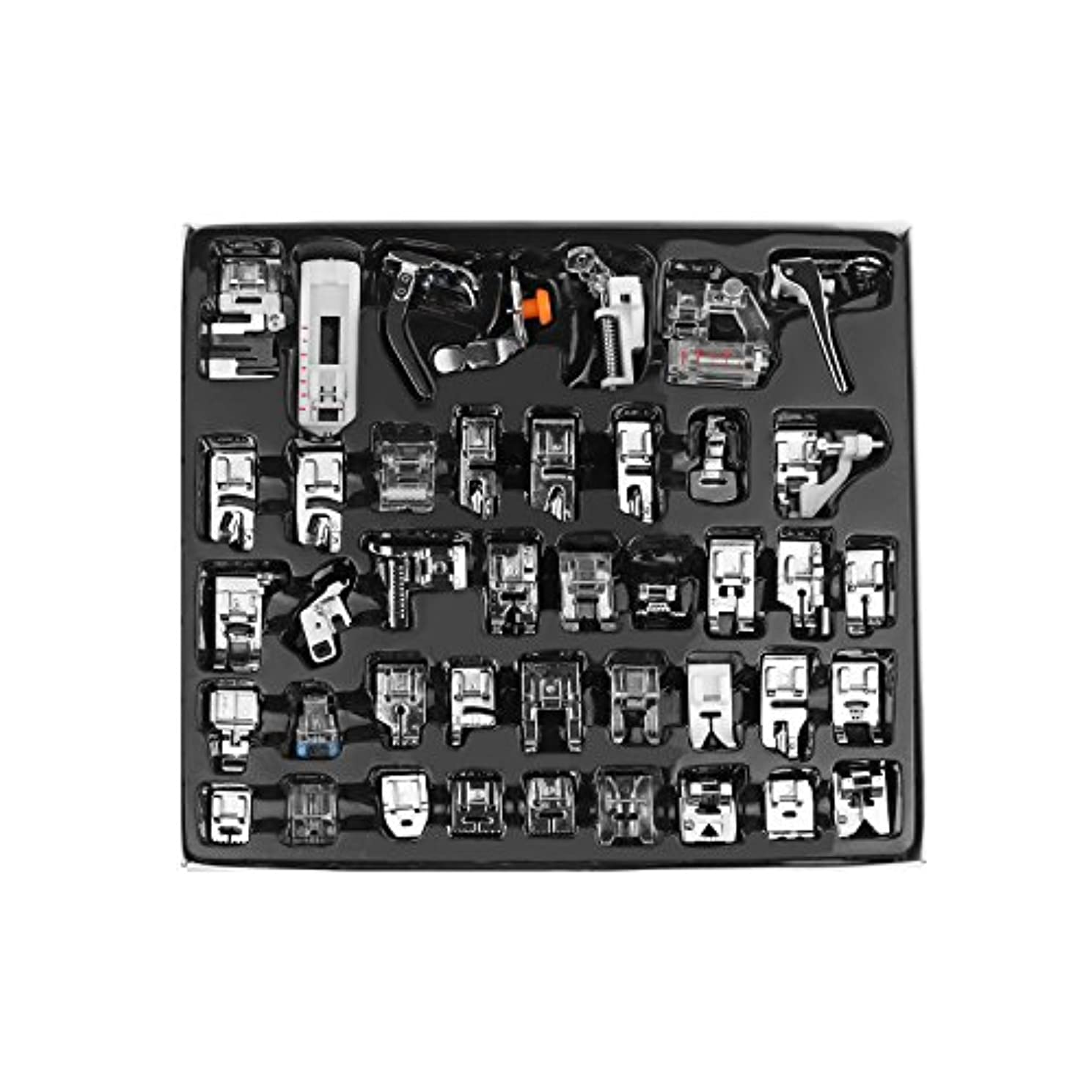 LEMONBEST Professional 42pcs Domestic Sewing Machine Presser Walking Foot Set for Brother, Butterfly, Singer, Janome, Baby Lock etc. Low Shank Sewing Machines