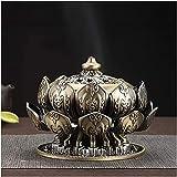 Qohg Supporto di incenso Lotus Incenso Bruciatore Alloy Bobina di incenso Supporto Artigianato fatto a mano Artigianato Home Decor Aromaterapia Ornamento Medieval Fantasy Ornamenti regalo (Colore: 1)