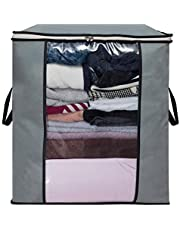 Home Store India Large Foldable Storage Bag Organizer Clothes Storage Container for Blanket Comforter Clothing Bedding with Durable Handles, Grey