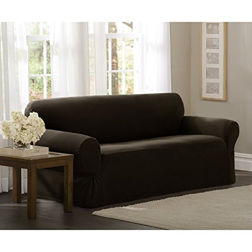 MAYTEX Pixel Ultra Soft Stretch Sofa Couch Furniture Cover Slipcover, Chocolate