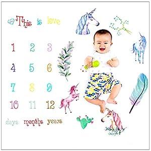 Manta con estampado floral para bebé – WENTS Baby Milestone Blanket Bebé Manta Mensual Hito como Fondo Fotográfico para…