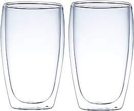 Juego de 2 vasos de café de doble pared con aislamiento, resistente al calor, ideal para café latto, leche, cerveza, capuchino, zumo, té 450 ml