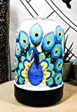 Ebros Gift Wildlife Wonders Beautiful Peacock Train Aroma Essential Oil Diffuser with Colorful LED Lights and Electronic USB Power Cord Home Aromatherapy Accessory