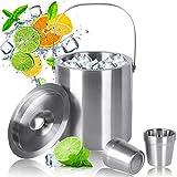 MVPower Cubitera de Acero Inoxidable con Vaso de Acero , Cubo para Hielo de Acero Inoxidable Cubo de Hielo Aislamiento de Doble Pared, 2.5 L Conveniente para Cerveza Refrigerada