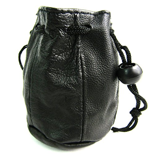 Unisex Small Black Leather Drawstring Coin Pouch Purse