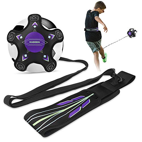 KABIBIN Volleyball/Football Training Equipment Aid, Kick Hands Free Solo Soccer Trainer, Perfect for Beginners Practicing Serving, Setting and Spiking, Adjustable Cord and Waist Length (Purple)