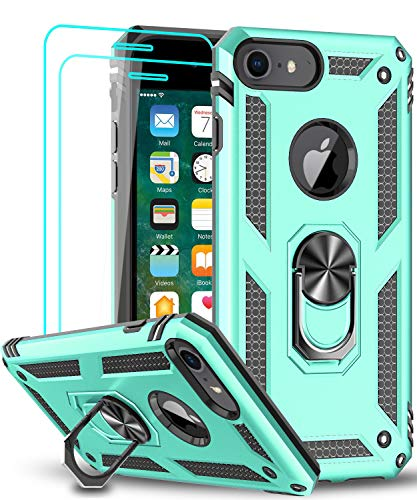LeYi iPhone 8 Case, iPhone 7 Case, iPhone 6s/ 6 Case with Tempered Glass Screen Protector [2Pack], Military-Grade Protective Phone Case with Ring Car Mount Kickstand for iPhone 6/6s/7/8, Mint