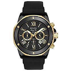 Bulova Marine Star Chronograph Mens Stainless Steel with Black Silicone Strap, Two-Tone (Model: 98B278)