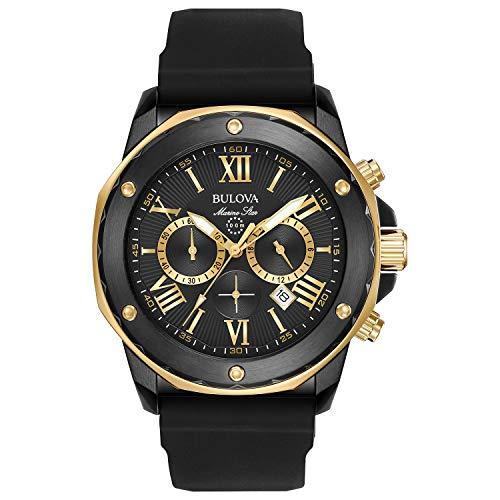 Bulova Relógio analógico masculino de aço inoxidável com pulseira de silicone, preto, 24 (modelo: 98B278)