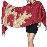 Cálido Bufandas de Invierno El alce dorado con hilo dorado cosido en la tela roja Pashmina Chales mujer Bufandas