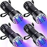 4 Pezzi 21 LED Piccola Torcia UV a Luce Nera Rilevatore Torcia UV 395 NM per Rilevamento di Macchie di Urina negli Animali Domestici, Valuta Autentica, Rilevazione di Agenti Fluorescenti