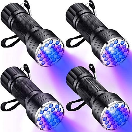 4 Piezas 21 LEDs Linterna de Luz UV Negra Pequeño Linterna UV 395 NM Detector para Detección de Manchas de Orina en Mascotas, Autenticar Moneda, Detección de Agente Fluorescente y Acampar
