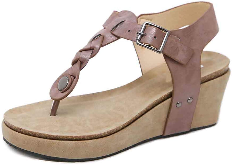 Women Fashion Beach Sandals, Summer Leather Metal Buckle Big Size Wedges Flip Flops Ladies shoes, Women's Ladies Sandals,Brown,6.5MUS