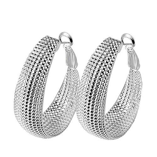 Odoukey Joyería Pendientes de la Manera 1pair de Plata cristalino Grande del aro cuelga el Encanto de la Fiesta Pendientes del aro para la Mujer