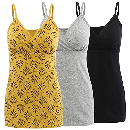 COLOMI Camisetas de lactancia materna, sujetador integrado para lactancia, camisola., negro, gris y amarillo, XL