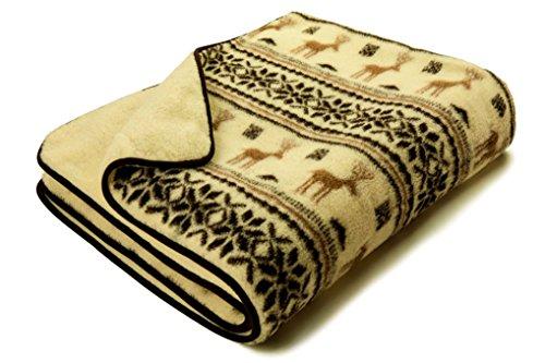 Schafwolldecke doppelt ca. 160 x 200 cm Wolldecke Schurwolle Norweger Muster 1.000gr/m2